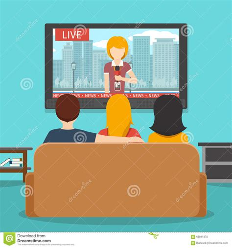 couch online tv people watching news on television vector flat