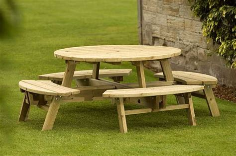 round garden bench table atholl chunky 8 round picnic table