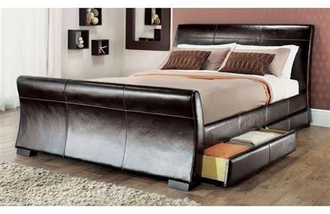 double sized bed 4 drawers leather storage sleigh bed double or king size