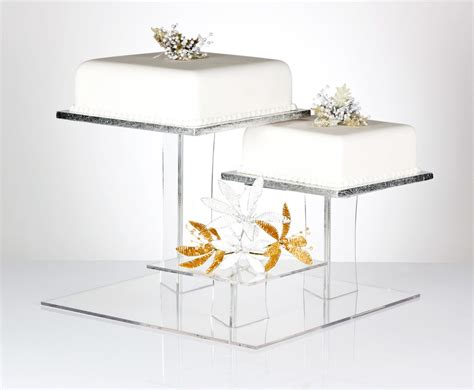 Wedding Cake Stands by Delia Square 3 Tier Acrylic Cake Stand