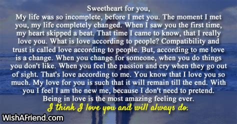Letter To My Sweetheart Letters