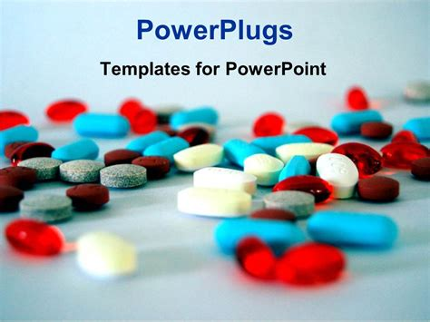 Powerpoint Template Colorful Medical Pills And Capsules On Sky Blue Background 19741 Pills Powerpoint Template