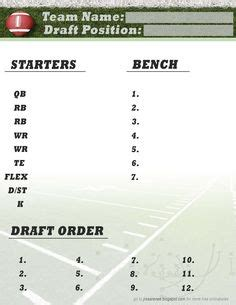 printable fantasy football draft form football nfl