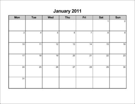 monday through sunday monthly calendar calendar template