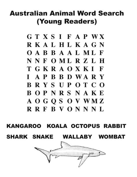 Australia Lookup Australian Animal Word Search Primary