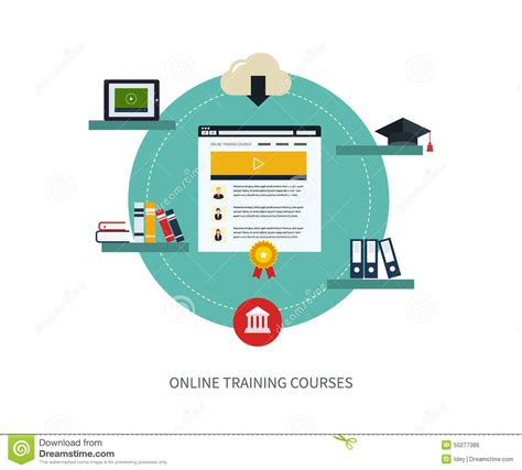 design free online courses online education and courses stock vector illustration
