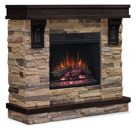 gas fireplace tv console 45 quot tv stand with log firebox the brick