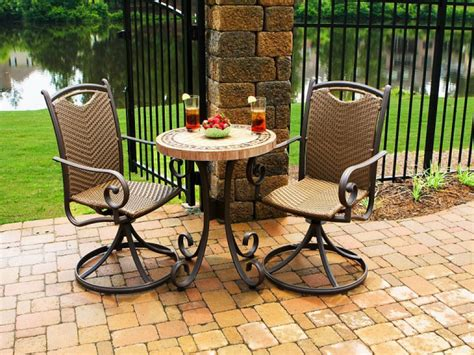 patio decor furniture brown wooden bistro sets for minimalist patio decor
