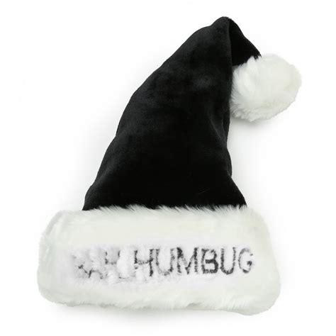 christmas shop bah humbug plush black santa hat ebay