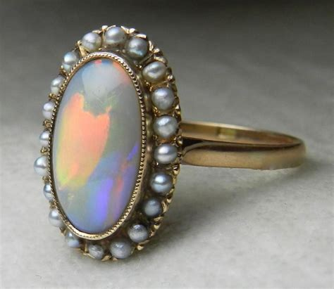 antique opal engagement ring 14k 1800s opal seed