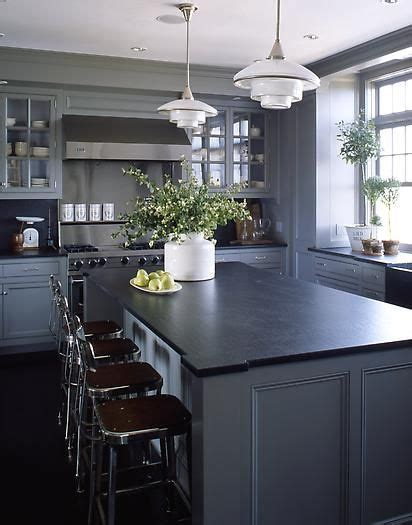 Grey Kitchen Cabinets With Black Countertops by Medium Grey Cabinets Black Counter Probably Much