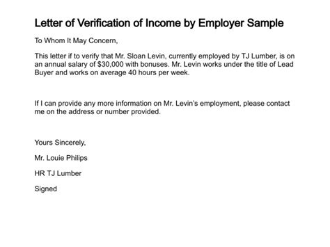 Letter For Proof Of Employment And Income Letter Of Verification