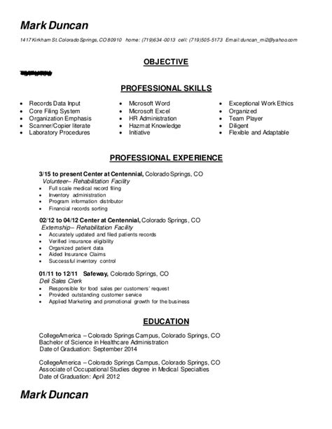 completed admin resume records clerk