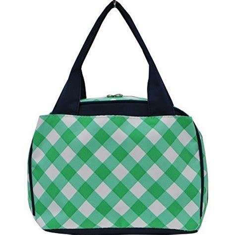 insulated tote bag pattern plaid checkered pattern print insulated lunch tote bag