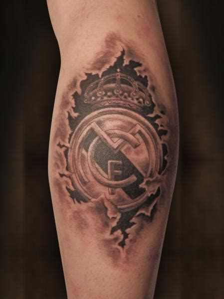 tattoo 3d real madrid 3d realistic real madrid logo tattoo on arm sleeve
