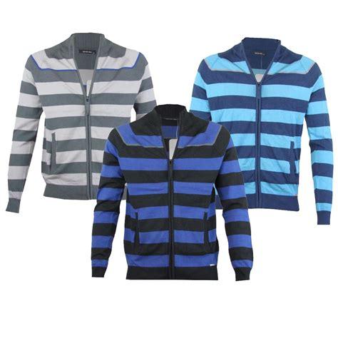 mens blue grey or black striped zip up jacket cardigan jumper sizes s m l xl ebay