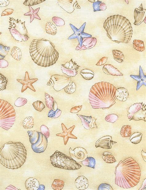 printable fabric paper seashell fabric seashell fabric by timeless treasures