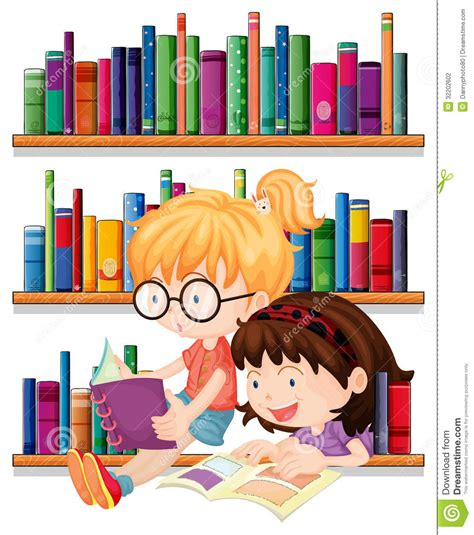 Reading Friends by Two Friends Reading Stock Vector Illustration Of