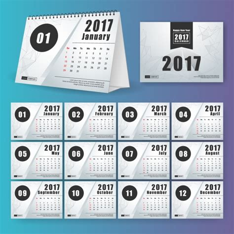 Calendario Original 2017 Calendar Design Vector Free