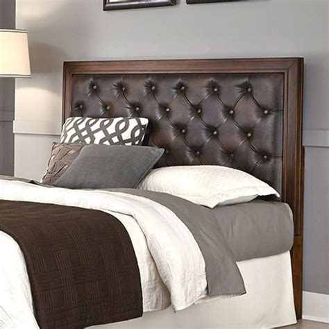 Brown Tufted Headboard Home Styles Duet Panel W Brown Leather Rustic Cherry
