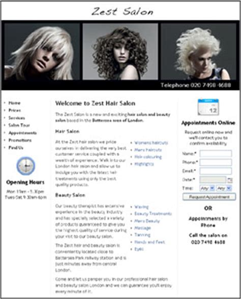 exles of hair websites salon web design website marketing for hair beauty salons