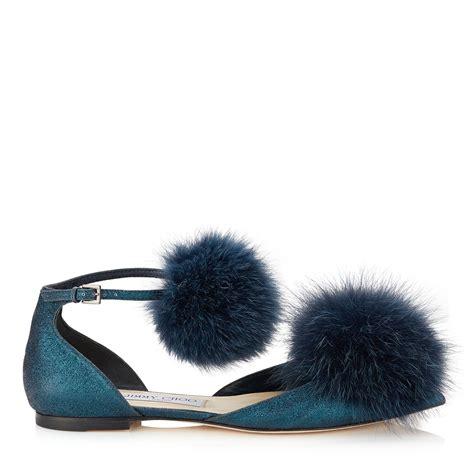 Flat Fox jimmy choo dolly fox fur pom pom flats in blue lyst