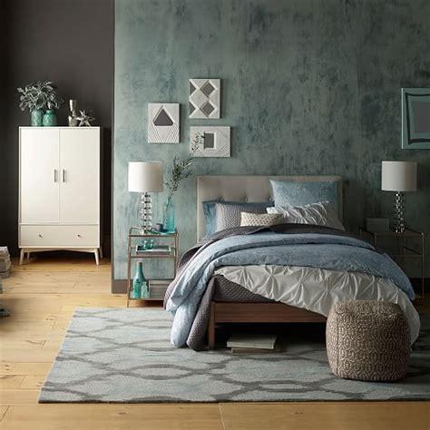 West Elm Bedroom Sale by Mid Century Button Tufted Bed Pebble Weave West Elm