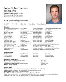 Resume Exles For Actors by Acting Resume