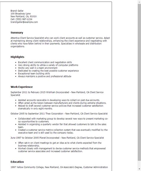 Customer Relations Specialist Cover Letter by Professional Client Service Specialist Templates To Showcase Your Talent Myperfectresume