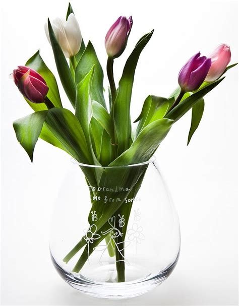 Glass Flower Vases Personalised Engraved Glass Flower Vase By The Gift Of