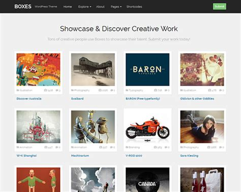 wordpress themes for gallery sites boxes community gallery wordpress theme themeshaker com