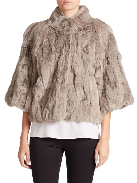 Cropped Fur Jackets by Adrienne Landau Cropped Textured Rabbit Fur Jacket In Gray