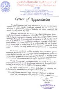 Appreciation Letter To English Teacher Jyothishmathi Institute Of Technology And Science