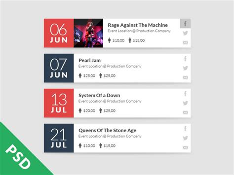 Promoter Upcomin Events Listing psd event list by rafael zago ui ux resources and inspiration calendar