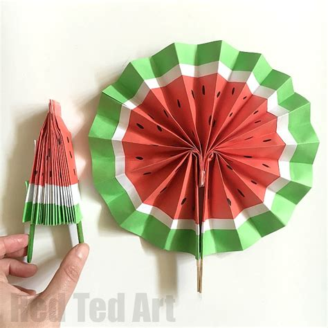 How To Make A Paper Fan On A Stick - diy paper fan melon fans ted s