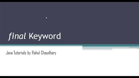 pattern keyword in java java tutorial final keyword in java youtube