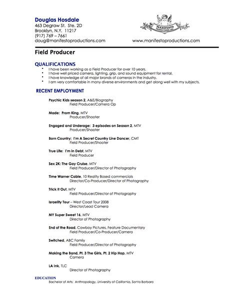 Producer Resume by Field Producer Resume