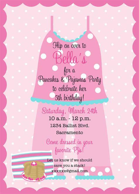 Pancakes And Pajamas Birthday Party Invitation Party Swaggy Pinterest Party Invitations Pancakes And Pajamas Invitation Template