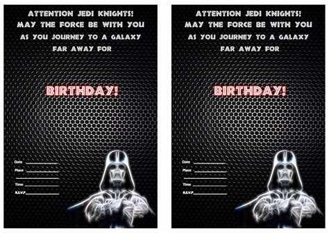 printable star wars invitations star wars the force awakens birthday invitations