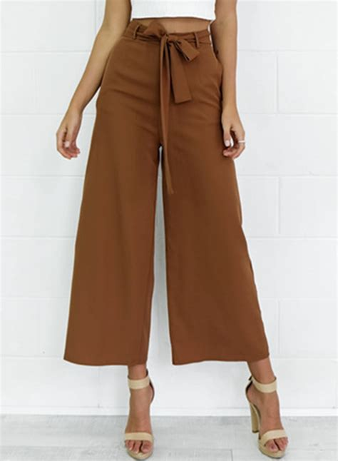 Belt Pant s belt decoration solid wide leg novashe