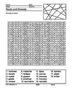 printable word search on rocks worksheets minerals and earth space on pinterest