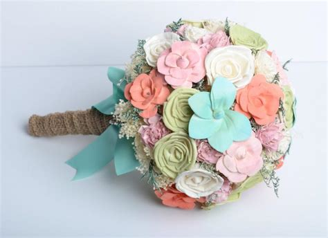 mint coral sola flower bridal bouquet shabby chic bouquet romantic bouquet alternative