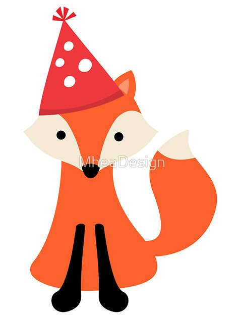 Fox Home Decor Quot Cute Cartoon Fox Wearing A Party Hat Quot Stickers By