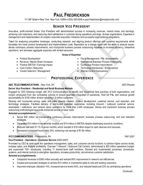 sle resumes for vice presidents vice president marketing resume sle 28 images vp sales vp