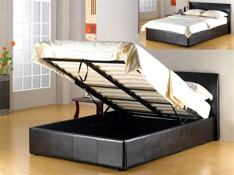 ottoman storage beds king size ottoman faux leather brown storage bed double king homegenies