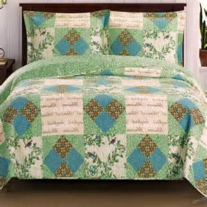 Oversized Quilts Chic Shabby Patchwork Blue Green Quilt Coverlet