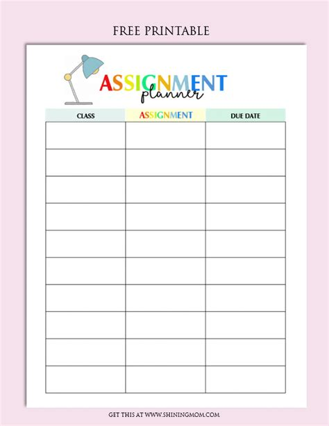 printable planners for homework free printable homework planner