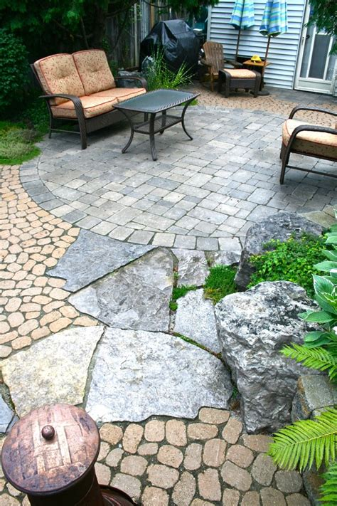 Outdoor Brick Pavers Backyard Makeover Circular Brussels Block Interlocking