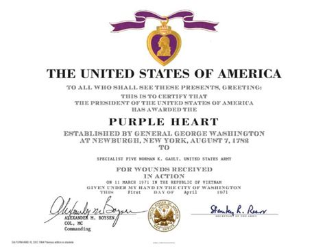 28 purple heart certificate template army aam award