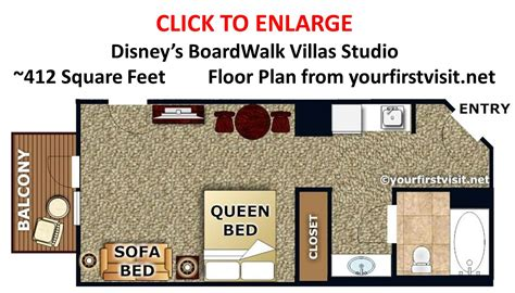 disney boardwalk villas floor plan sleeping space options and bed types at walt disney world